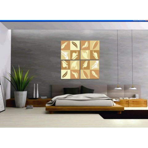 Printed Abstract Canvas Art with Stretched Frame - set of 4