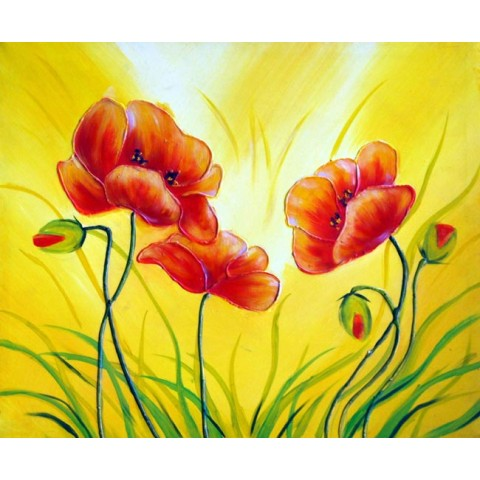 Printed Flower Canvas Art with Stretched Frame