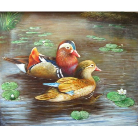 Printed Ducks Canvas Art with Stretched Frame