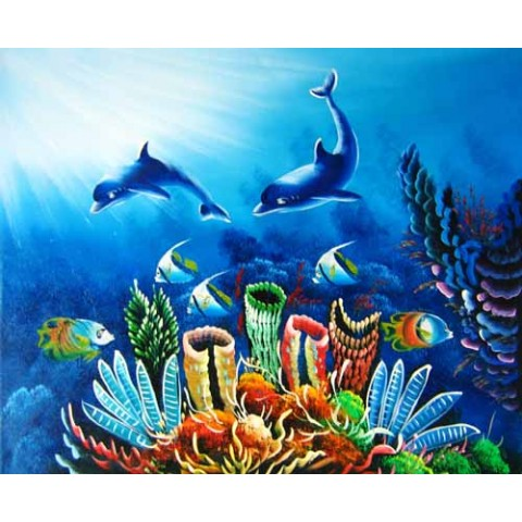 Printed Dolphin Canvas Art with Stretched Frame